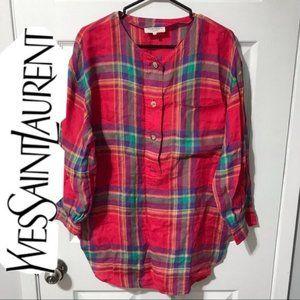Vintage YSL Plaid Long Sleeve Shirt